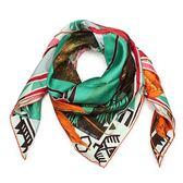 HERMES 民族領袖圖騰真絲方型披肩圍巾(綠色)179143
