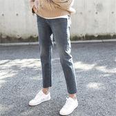 直筒褲子冬高腰寬鬆闊腿chic韓風牛仔褲女