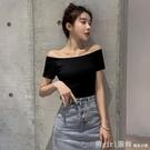 露肩上衣 鎖骨一字領露肩上衣夏季純棉黑色t恤女短袖設計感小眾緊身體桖潮 開春特惠