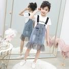 女童牛仔背帶裙洋裝新款洋氣時尚夏裝網紗兒童中大童吊帶裙 夏季新品
