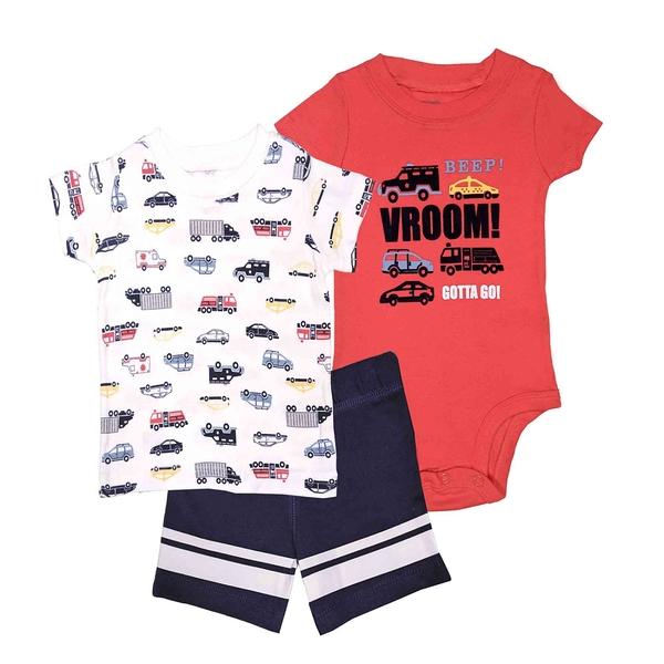 男寶寶套裝三件組 T恤上衣+包屁衣+短褲 白車車 | Carter s卡特童裝 (嬰幼兒/兒童/小朋友/小孩)