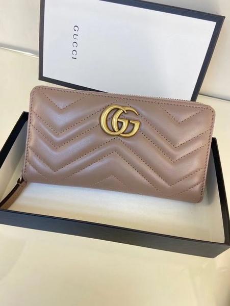 ■新品專櫃88折■ Gucci 全新真品 443123 GG Marmont 拉鍊長夾/錢包 裸色