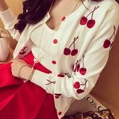 針織外套-櫻桃刺繡修身顯瘦女毛衣外套2色73pp24【時尚巴黎】