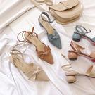 壹字帶涼鞋女法式少女高跟後空網紅仙女風蝴蝶結包頭中跟簡約粗跟