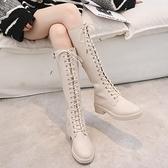 長筒馬丁靴女2021秋冬新款英倫風綁帶騎士靴平底時尚米白色女靴潮 8號店