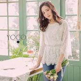 東京著衣【YOCO】優雅純色玫瑰蕾絲珍珠收腰上衣-S.M.L(180114)