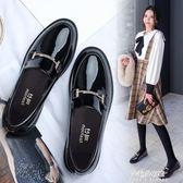 小皮鞋女英倫風春季新款韓版百搭一腳蹬平底黑色厚底學院單鞋  朵拉朵衣櫥