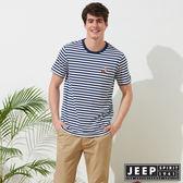 【JEEP】網路限定 舒適狐狸造型條紋短袖TEE-男女適穿-藍