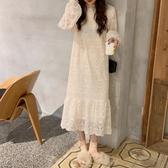 2019秋冬新款韓版chic半高領中長款裙子很仙的蕾絲打底洋裝女 poly girl
