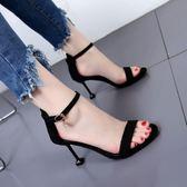 簡約氣質酒杯跟絨面高跟鞋女夏季新款黑色百搭一字扣拼色露趾涼鞋