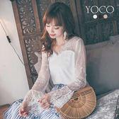 東京著衣【YOCO】細緻仙女V領透膚蕾絲荷葉袖上衣-S.M.L(180401)