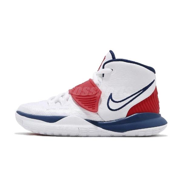 Nike 籃球鞋 Kyrie 6 PS USA 白 藍 紅 童鞋 中童鞋 美國隊 Irving 6代 KI6 運動鞋【ACS】 BQ5600-102
