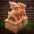 漢白玉石雕麒麟一對門口招財門墩家用鎮宅風水擺件貔貅 萬客居