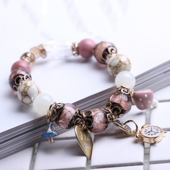 潘朵拉風格愛麗絲夢遊仙境串珠 手鍊 粉色款