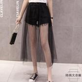 夏裝韓版顯瘦網紗拼接牛仔短褲假兩件半身裙高腰【時尚大衣櫥】