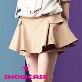 【SHOWCASE】口袋飾剪接圓襬褲裙(卡其)
