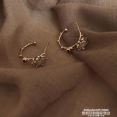 秒殺耳環2 26有朵花兒韓國設計感鑲鉆花瓣耳釘撞色半圓幾何耳圈網紅耳環女聖誕交換禮物
