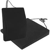 【源之氣】竹炭透氣記憶可調式腰墊+透氣斜坡記憶坐墊組合(黑)(9447+9448)