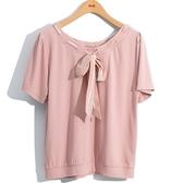 春夏7折[H2O]兩面穿領穿絲巾裝飾針織造型上衣 - 藍/白/粉色 #0671011