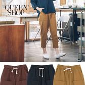 Queen Shop【04101300】素色口袋造型抽繩低檔哈倫褲 三色售*現+預*