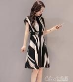 洋裝 夏季韓版超火新款女裝時尚條紋洋裝女氣質收腰顯瘦A字裙潮 【快速出貨】