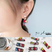 Petal.嘻哈彩色字母標語壓克力穿針式耳環【hc264】*911 SHOP*