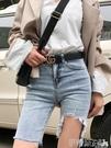 五分褲高腰牛仔短褲女夏季2020新款破洞外穿緊身中褲顯瘦騎行韓版五分褲 伊蒂斯