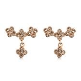 耳環 玫瑰金 925純銀鑲鑽-花朵盛開生日情人節禮物女飾品2色73gs128【時尚巴黎】