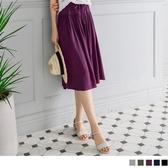 《BA2219》涼感純色腰鬆緊綁帶寬褲褲裙 OrangeBear