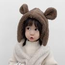 保暖毛絨小熊帽 圍巾 帽子 護耳帽 帽子 圍巾 橘魔法 現貨 保暖 女童 男童