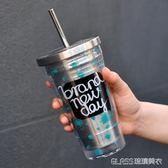 韓版不銹鋼吸管杯雙層車載吸管杯咖啡杯創意隨手杯隨行杯    琉璃美衣