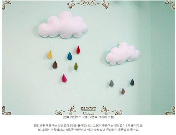 【發現。好貨】韓國手工雲朵雨滴不織布風野餐裝飾兒童房嬰兒房寵物派對居 帳篷裝飾
