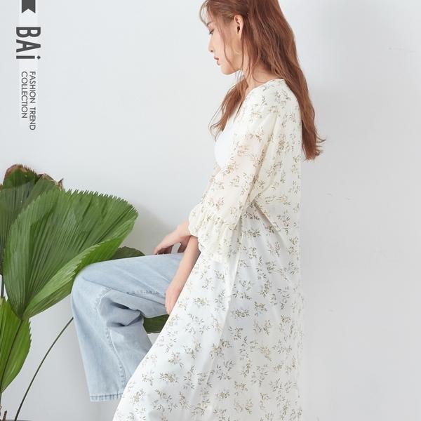 外套 花葉透視雪紡紗荷葉水袖開襟長版罩衫-BAi白媽媽【190576】