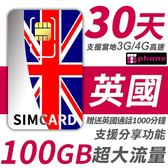 【TPHONE上網專家】英國 30天 100GB超大流量 4G高速上網 贈送當地通話 1000分鐘