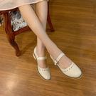 大尺碼真皮女鞋34-43 2021新款時尚百搭頭層牛皮方頭低跟瑪莉珍鞋 OL工作鞋 通勤鞋 ~2色