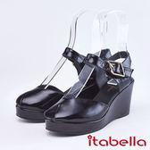 itabella.悠閒時尚 性感魚口楔型涼鞋(9301-90黑色)