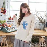 【Tiara Tiara】激安 幸福飛鳥縮口長袖針織衫(白底/灰底)