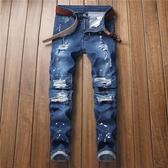 新品特惠# 爆款歐美外貿牛仔褲男士潑墨褶皺修身小腳機車男式破洞牛仔褲
