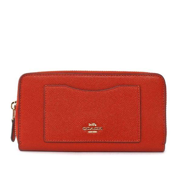 【COACH】馬車LOGO防刮皮革口袋拉鍊長夾(磚紅色) F54007 IMMNG