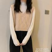 短款春秋季2021新款韓版寬鬆毛衣v領針織馬甲女背心上衣外穿ins潮 夏季新品