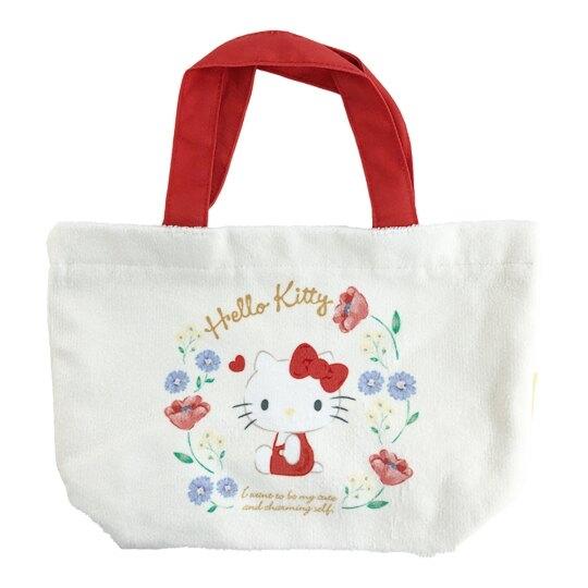 小禮堂 Hello Kitty 船形毛巾布手提袋 棉質手提袋 便當袋 托特包 (米 花圈) 4550337-65944