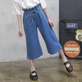 女童闊腿褲夏裝七分褲牛仔褲純棉寬鬆兒童褲