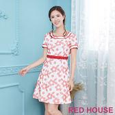 Red House 蕾赫斯-花朵刺繡洋裝(紅色)