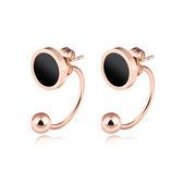【5折超值價】 情人節禮物時尚精美簡約U形勾黑色圓型女款鈦鋼耳飾