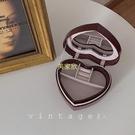 「復古珍寶盒」vintag法式收納盒雙層絨面戒指耳環項鏈鏡子首飾盒 現貨快出
