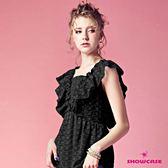 【SHOWCASE】刺繡剪接荷葉袖方領高腰上衣(黑)