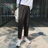 港味韓范chic黑色寬鬆男士休閒褲百搭舒適男褲子復古直筒九分褲潮