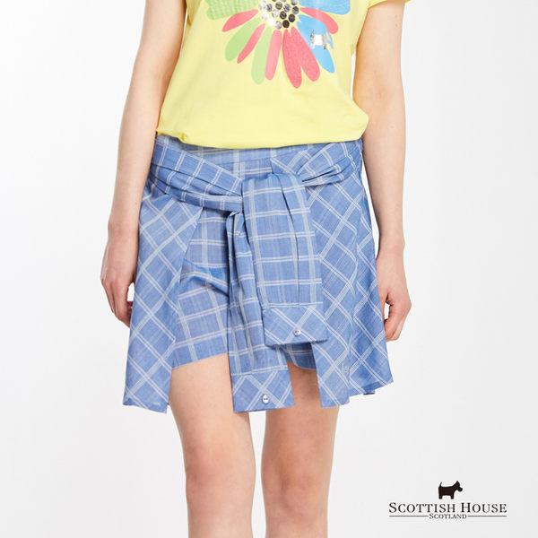 格紋假兩件綁帶褲裙 Scottish House【AG2261】