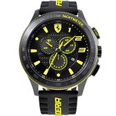 FERRARI 法拉利賽車設計款三眼計時腕錶/黑/0830139