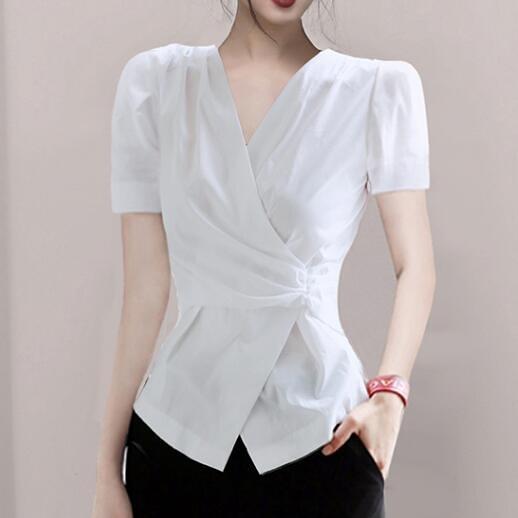 襯衣通勤職業裝氣質襯衫春夏新款韓版女裝白色短袖V領上衣980H515快時尚